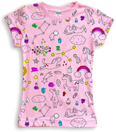 Urban Smalls Light Pink Unicorn Doodle Sublimated Tee - Toddler & Girls