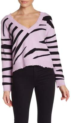 Wild Honey Zebra Distressed V-Neck Sweater