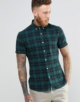 Asos Skinny Shirt With Mid Scale Check and Short Sleeves In Green