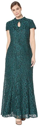 Alex Evenings Long Mandarin Collar Fit-and-Flare Dress with Keyhole Cutout Neckline (Hunter Green) Women's Dress