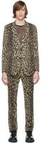 Dries Van Noten Black and Beige Wool Leopard Suit