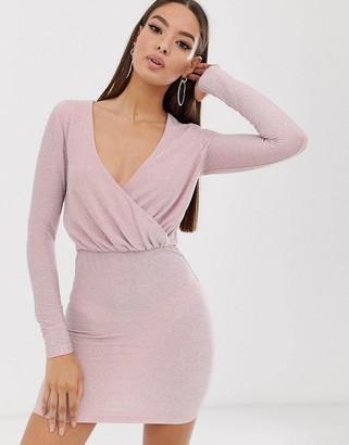 The Girlcode long sleeve drape glitter mini dress in blush