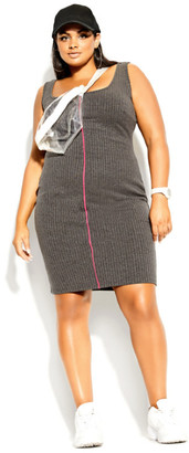 City Chic Neon Stripe Dress - grey