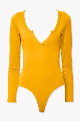 Forever 21 Long-Sleeve V-Neck Bodysuit