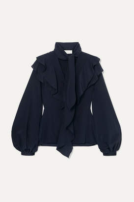 Peter Pilotto Ruffled Silk-georgette Blouse - Navy