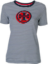 Tory Burch striped logo T-shirt - women - Cotton - XS