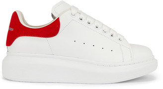 Alexander McQueen Leather Platform Sneakers in White & Red   FWRD