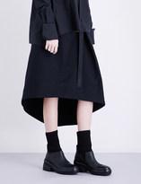 Isabel Benenato Asymmetric-hem high-rise cotton-twill skirt
