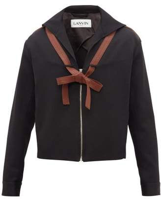 Lanvin Sailor Collar Leather Ties Wool Jacket - Mens - Black