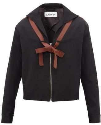 Lanvin Sailor-collar Leather-ties Wool Jacket - Mens - Black
