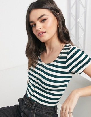 NATIVE YOUTH button through crop top in teal stripe