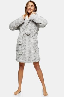 Topshop Womens Grey Faux Fur Dressing Gown - Grey