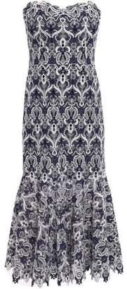 Jonathan Simkhai Strapless Fluted Guipure Lace Midi Dress