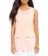 Eileen Fisher Georgette Crepe Round Neck Shell