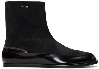 Maison Margiela Black Suede Flat Tabi Boots