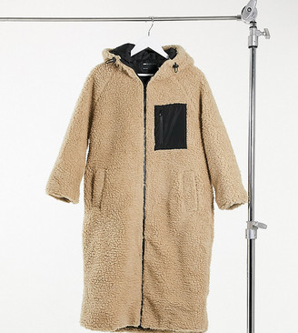ASOS DESIGN Petite longline fleece hooded coat in camel
