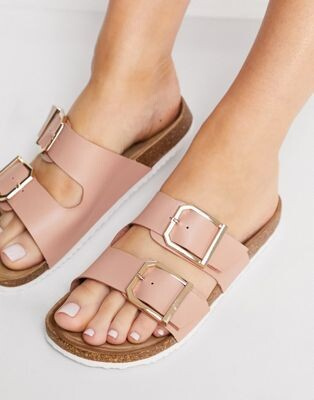 New Look double buckle flat sandal in light pink