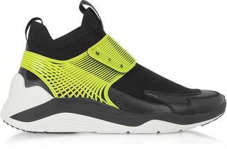 McQ Hikaru 3.0 Black Lime Calf Leather and Fabric Men's Sneakers