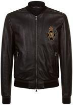 Dolce & Gabbana Embellished Leather Bomber Jacket