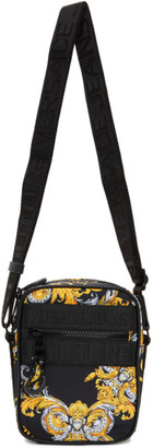 Versace Jeans Couture Black and Gold Barocco Crossbody Bag