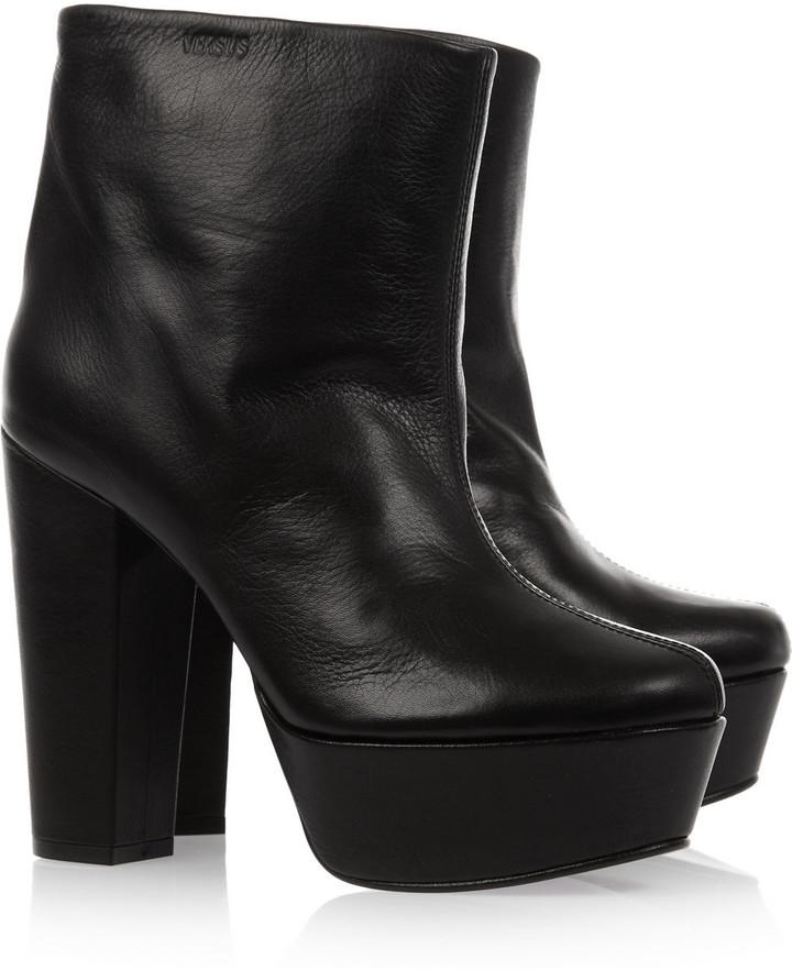 Versus Leather platform ankle boots