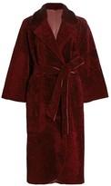 The Fur Salon Reversible Shearling Belted Mink Fur-Collar Coat