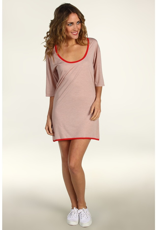 Lacoste 3/4 Sleeve Lightweight Scoopneck T-Shirt Dress (Heather Foundation Pink) - Apparel