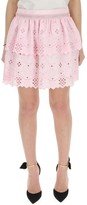 Alberta Ferretti Lace Embroidered Tiered Mini Skirt