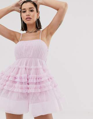 Lace & Beads structured tulle mini dress with built in bodysuit in pastel pink-Purple