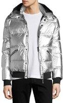 Armani Collezioni Metallic Short Puffer Jacket, Gray