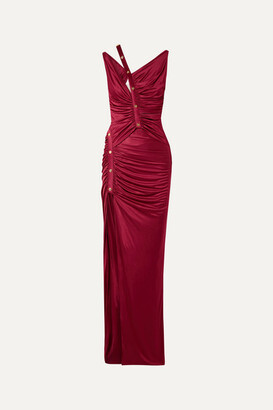 Versace Cutout Button-detailed Ruched Satin Gown - Burgundy