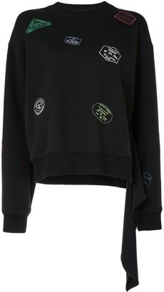 PortsPURE Graphic Print Draped-Detail Sweatshirt