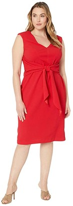 Adrianna Papell Plus Size Rio Knit Draped Tie Sheath Dress (Hot Tomato) Women's Dress