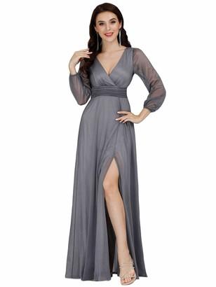 Ever Pretty Ever-Pretty Women's V Neck Long Sleeve Elegant Empire Waist Long A Line Prom Dresses Burgundy 10UK