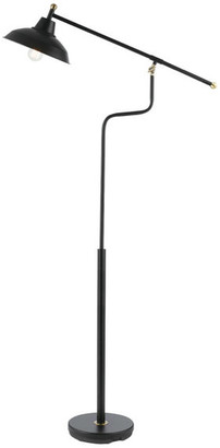 """Globe Electric Carlton 63"""" Matte Black Floor Lamp With Antique Brass Accents"""