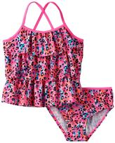 Osh Kosh Girls 4-6x Animal Print Tankini Top & Bottoms Swimsuit Set