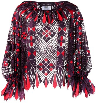 Talbot Runhof Ginster flapper lace blouse