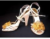 Roberto Cavalli pristine (PR Beige Jeweled 3-D Rose Swarovski Sandals sz 36