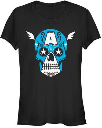 Fifth Sun Women's Tee Shirts BLACK - Captain America Black Sugar Skull Crewneck Tee - Women & Juniors