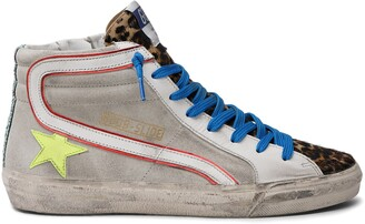 Golden Goose Slide Genuine Calf Hair High Top Sneaker