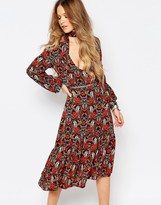Glamorous Long Sleeve Midi Dress With Neck Tie In Floral