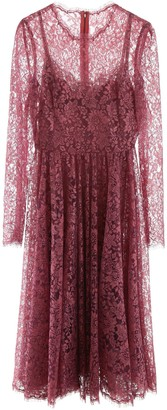 Dolce & Gabbana Pleated Lace Midi Dress