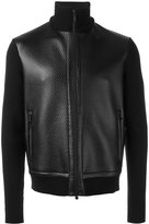 Z Zegna leather panel knitted jacket