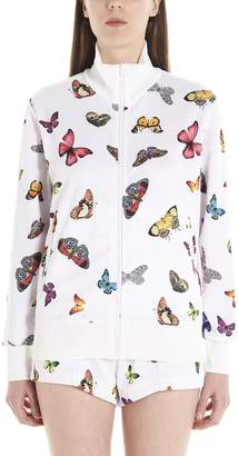 Palm Angels Butterfly Print Zip Up Sweatshirt