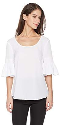 Suite Alice Women's Shirred Short Sleeve Round Neck Woven Blouse