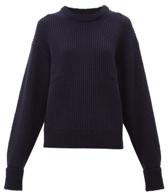 Chloé Turn-up Cuff Ribbed Merino Wool-blend Sweater - Navy