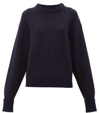 Chloé Turn-up Cuff Ribbed Merino Wool-blend Sweater - Womens - Navy