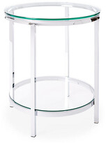 One Kings Lane Coralie Modern Side Table - Silver - chrome/clear