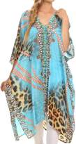 Sakkas P1 - Libra Mid Length Caftan Dress / Cover Up With Tribal Print / Rhinestones And V-Neck - 1728- OS
