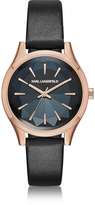 Karl Lagerfeld Janelle Rose Gold-tone PVD Stainless Steel Women's Quartz Watch w/Black Leather Strap